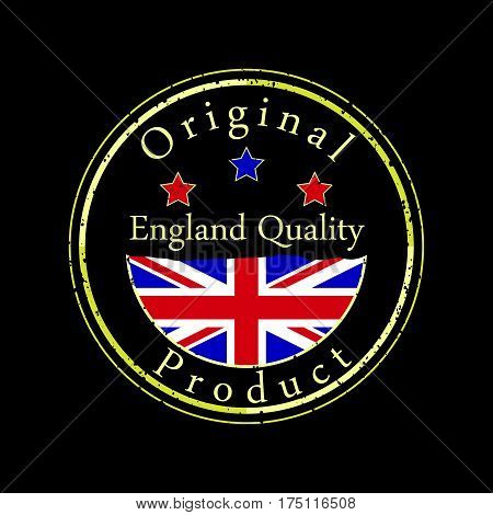 Gold grunge stamp with the text England quality and original product. Label contains England's flag.