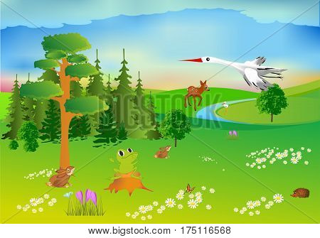 spring composition of the forest and the animals
