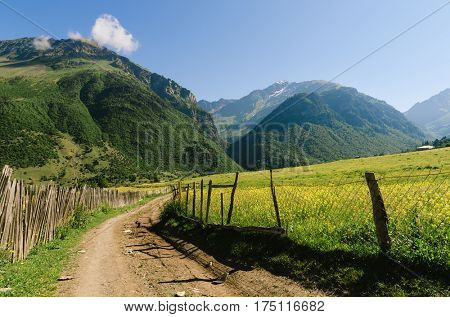 Summer landscape in sunny weather. The road in a mountain village. Wooden fence and green meadows. Zhabeshi, Zemo Svaneti, Georgia, Caucasus