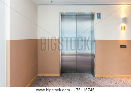 An interior designed elevator modern building design.