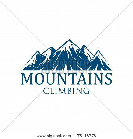 Climbing mountain sport vector icon for mountaineering or hiking tourism. Alpine rocks and mount snow peaks emblem for climber or explorer expedition adventure or camping trip