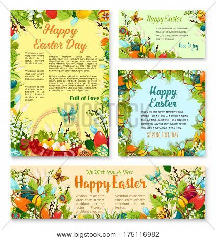 Easter Day festive banner and poster template. Easter egg in green grass, floral wreath of painted eggs, lily and snowdrop flowers, egg hunt basket, butterfly and willow twigs. Easter themes design
