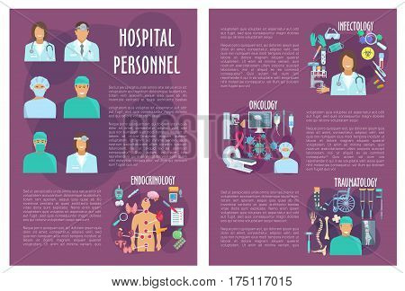 Medical personnel or hospital doctors vector posters. Endocrinology, infectology or oncology and traumatology departments and healthcare medicines of mri or x-ray, viruses and pills or treatment items