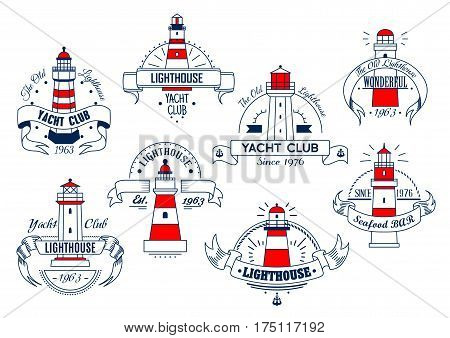 Yacht club or seafood bar vector icons set. Emblems and signs of lighthouse and ship anchor, nautical beacon signal light tower on cliff with marine ribbons