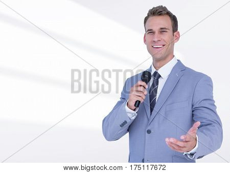 Composite image of businessman public speaking on microphone against white background