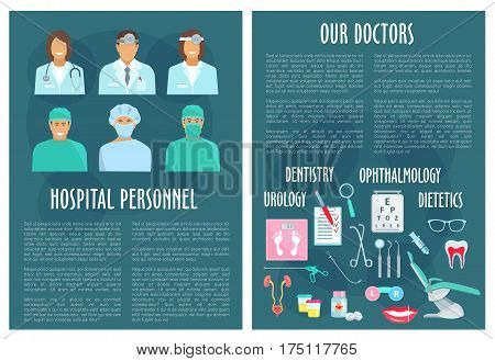 Medical personnel or hospital staff posters. Dentistry, urology, ophthalmology and dietetics healthcare. Vector medicines eye vision test, urogenital system or tooth implant or syringe and scalpel