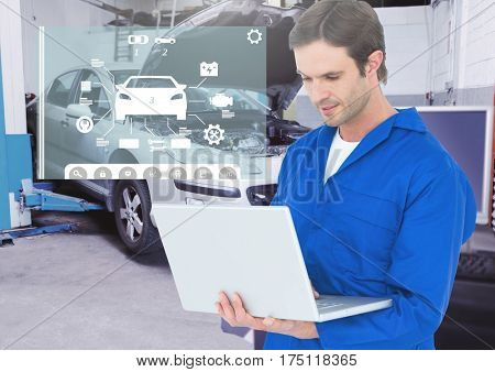 Digital composition of mechanic using laptop against car mechanics interface in background