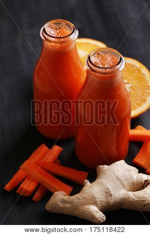 Drink, kitchen. Healthy carrot juice