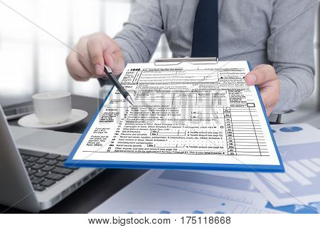 Time For Taxes Planning Money Financial Accounting Taxation And Individual Income Tax Return Form