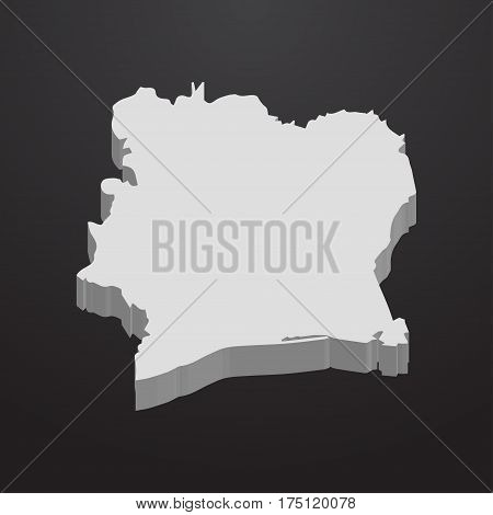 Ivory Coast map in gray on a black background 3d