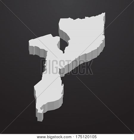 Mozambique map in gray on a black background 3d