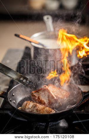 Chef Cook In Restaurant Kitchen