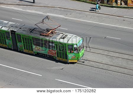 KALININGRAD, RUSSIA - AUGUST 21, 2011: Tram Tatra KT4 of the czech production. The Kaliningrad Tram network is the earliest tram network in Russia and most westerly. Electrified between 1895 and 1901.