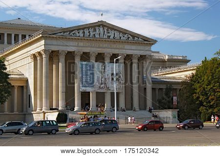 BUDAPEST, HUNGARY - AUGUST 08, 2012: The Museum of Fine Arts on the Heroes' Square. It was built by the plans of A. Schickedanz and F. Herzog in an eclectic-neoclassical style between 1900 and 1906.