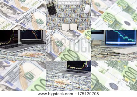 Conceptual Photo Collage about Assets and Currency trading and Investments
