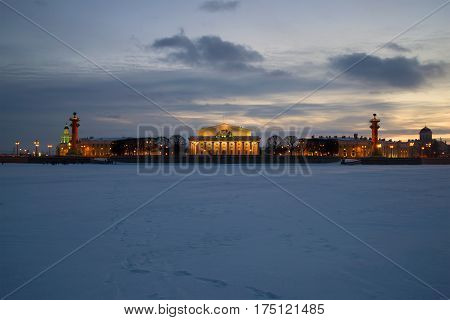 Architectural ensemble of the spit of Vasilyevsky island in the February twilight. Saint Petersburg