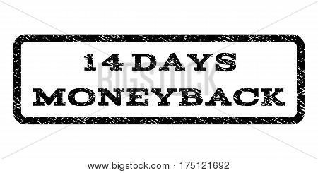 14 Days Moneyback watermark stamp. Text caption inside rounded rectangle frame with grunge design style. Rubber seal stamp with scratched texture. Vector black ink imprint on a white background.
