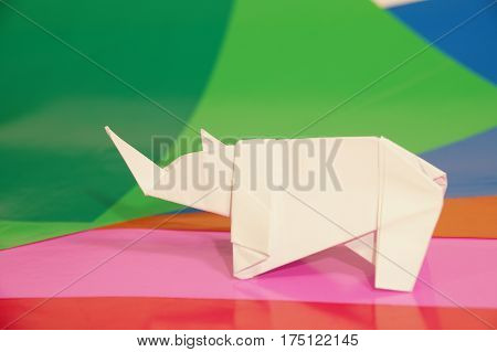 Paper origami rhino isolated on colorful background