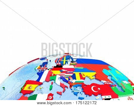 Europe On Political Globe With Flags
