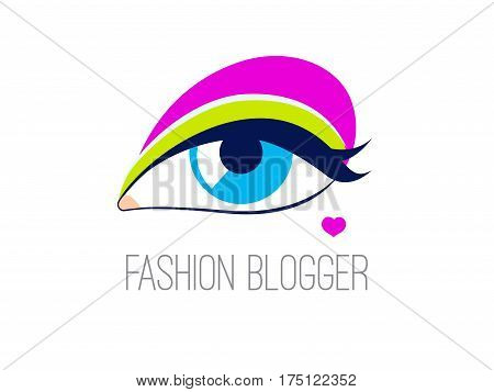 Logo fashion blogger. Icon review of trends in makeup. Eyes with colored eye shadow and mole in shape of heart. Vector illustration.