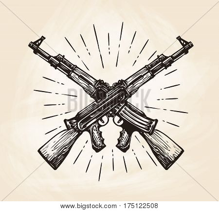 Hand drawn crossed automatic machines of Kalashnikov, sketch. Weapon vector