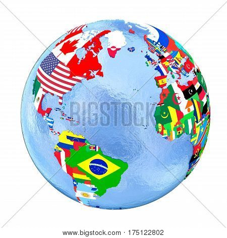 Northern Hemisphere On Political Globe With Flags Isolated On White
