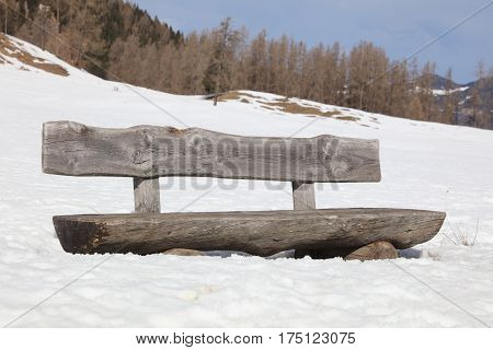 Bench with Snow in Vorarlberg. Klostertal Alps. Austria