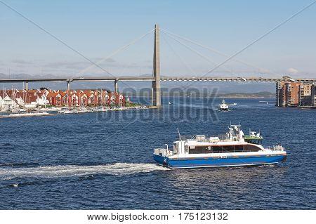 Norwegian urban landscape. Stavanger city bridge and marina. Norway highlight