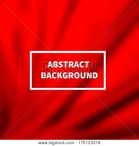 Abstract red silk smooth blurred background with folds. Satin backdrop for cosmetic products. Vector illustration.