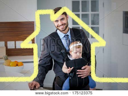 Digital composition of dad carrying his baby in baby carrier against house outline in background