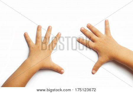disclosed children's hands pointing at the place for the text or picture isolated on white background