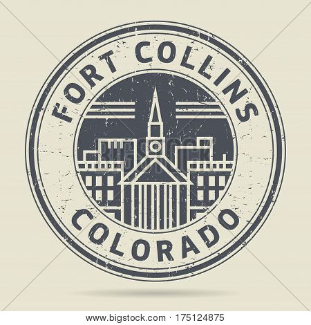 Grunge rubber stamp or label with text Fort Collins Colorado written inside vector illustration