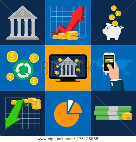 Banking icons set with isolated. Concepts of online payment methods. Icons for online payment gataway, mobile payments, electronic funds transfers and bank wire transfer. Vector illustrator.