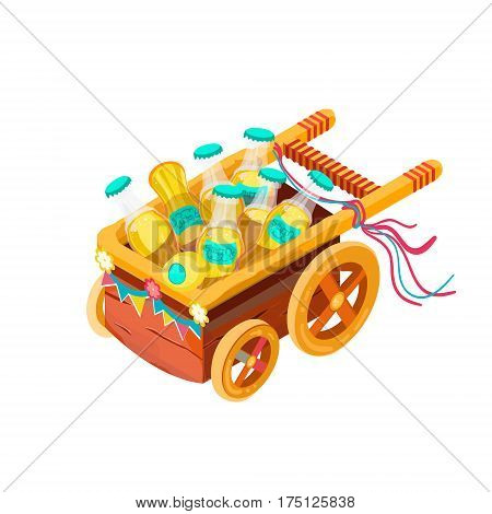 Isometric soda cart. Concept illustration for game design and mobile app. Isolated vector illustration. Cart full of soda bottles.