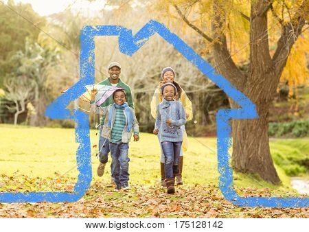 Digital composition of family running in the park against house outline in background