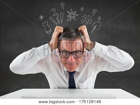 Digital composition of businessman sitting on his desk with hands on his head against thinking icons in background
