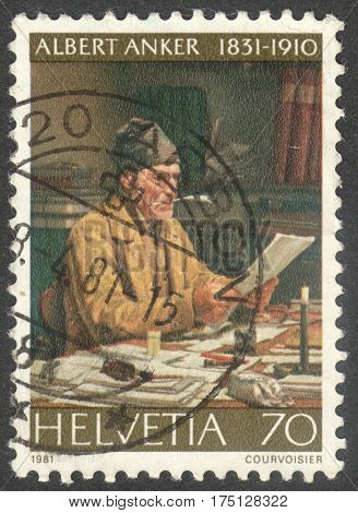 MOSCOW RUSSIA - CIRCA FEBRUARY 2017: a post stamp printed in SWITZERLAND shows a painting