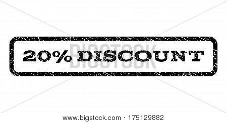 20 Percent Discount watermark stamp. Text tag inside rounded rectangle with grunge design style. Rubber seal stamp with dirty texture. Vector black ink imprint on a white background.