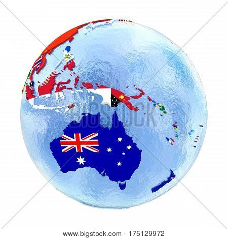 Australia On Political Globe With Flags Isolated On White