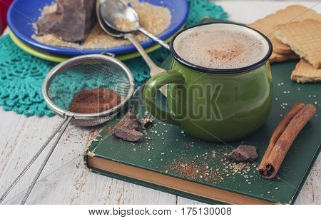 Warming Drink -  Mug Of Cocoa With Milk. Ingredients: Cocoa Bean