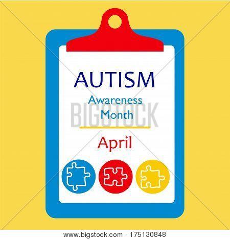 Autism Awareness Puzzle Elements Concept