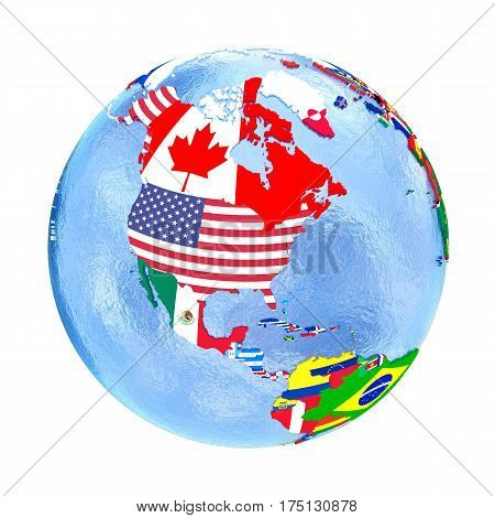 North America On Political Globe With Flags Isolated On White