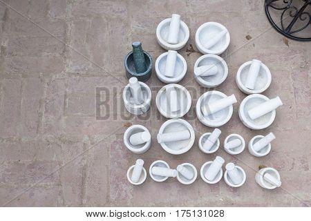 floor display of mortar of shopfront in Dilli Haat Delhi India. Dilli Haat is traditional marketplace in delhi