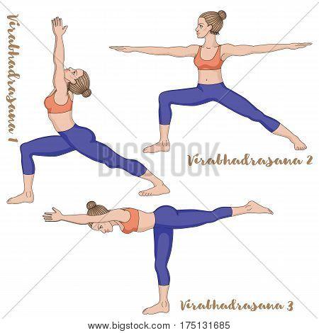 Women silhouette. Warrior 1, 2 3 yoga pose Virabhadrasana 1 2 3 Vector illustration