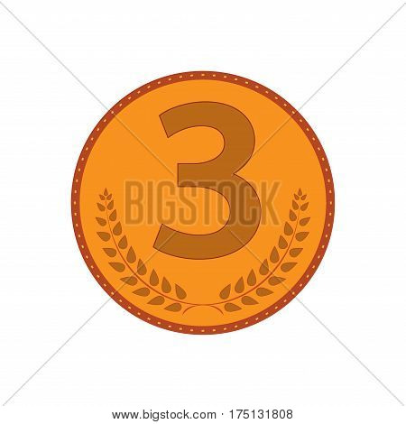 Bronze medal sign. Symbol of achievement. Color round medallion isolated on white background. Achievement flat mark. Concept of award. Modern art scoreboard. Stock vector illustration