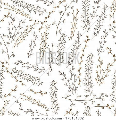 Doodle pattern of branches. Background white. Branches brown. It contains six kinds of branches.