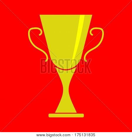 Cup winner sign. Symbol of prize. Golden trophy isolated on red background. Achievement shiny mark. Concept of award. Modern art scoreboard. Stock vector illustration