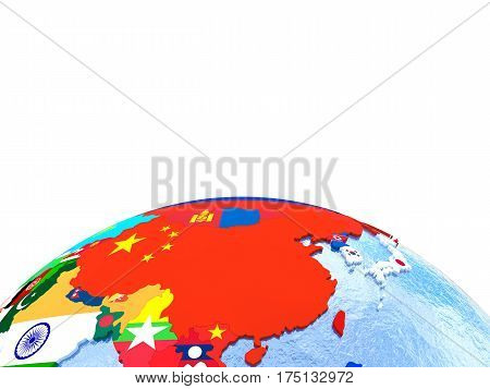 Australasia On Political Globe With Flags