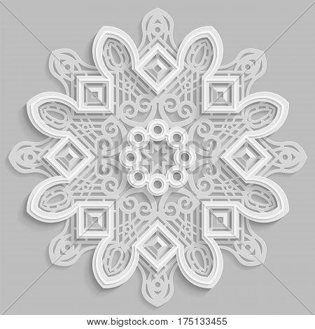Lace 3D mandala round symmetrical openwork pattern decorative snowflake arabic ornament decorative design element vector