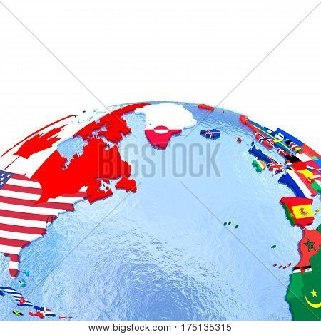 Northern Hemisphere On Political Globe With Flags